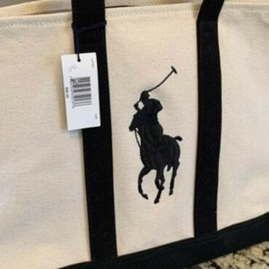 NEW Ralph Lauren Pony Canvas Tote Bag Beige Blue
